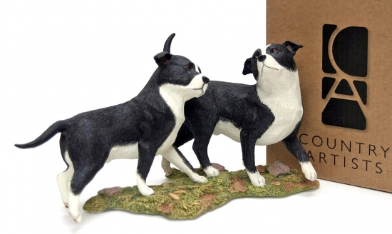 Country Artists Staffordshire Bull Terrier Pair