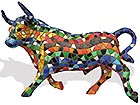 Barcino Design stier (Multi-Colored) 12 cm