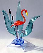 Glas flamingo in riet